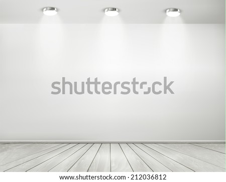 Grey room spotlights and wooden floor. Showroom concept. Vector. - stock vector