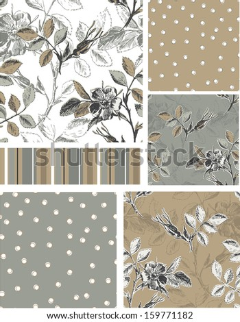 Grey Rose Floral Vector Seamless Patterns. Use as fills, digital paper, or print off onto fabric to create unique items. - stock vector