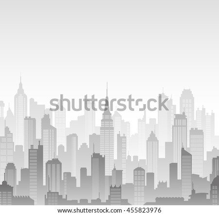 Grey scale high detail vector background composed of lots of illustrations of generic buildings and skyscrapers