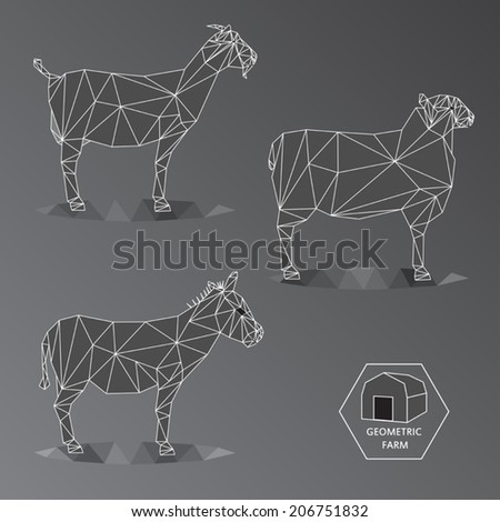Grey scale illustration of geometric farm animals made of triangle polygons,wire outline, set of medium animals like goat, donkey and sheep - EPS - stock vector