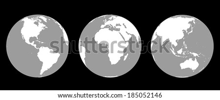 Grey scale illustration of the earth from three different angles: America, Europe and Africa, Asia and Australia.