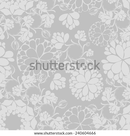 Grey seamless floral pattern wedding.  Vector  - stock vector