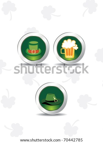 grey seamless shamrock background with set of three icons - stock vector