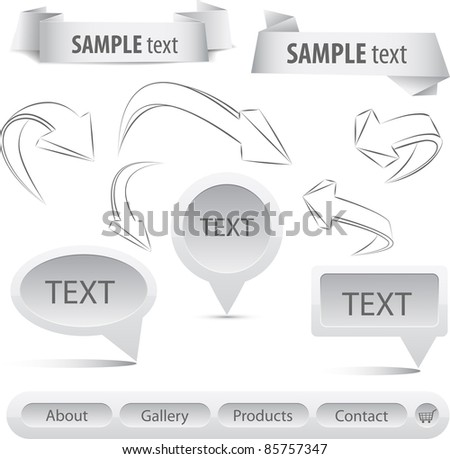 Grey set arrows and banners. Vector elements for design - stock vector