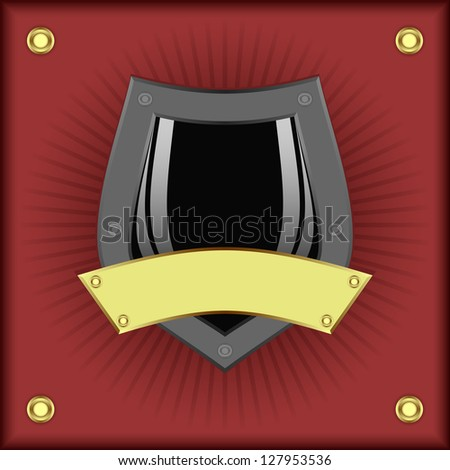 Grey shield and gold plate on a red background.