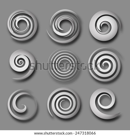 grey swirl objects - stock vector