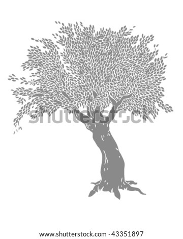 Grey Tree Drawing - Vector Illustration - stock vector