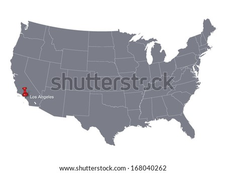United States National Map Stock Vector Shutterstock - Los angeles on us map