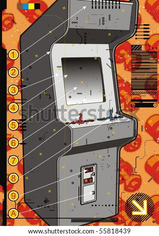 Grey video arcade machine on a red screw background. - stock vector