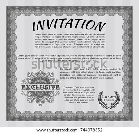 Grey Vintage Invitation Template Guilloche Pattern Stock Photo ...
