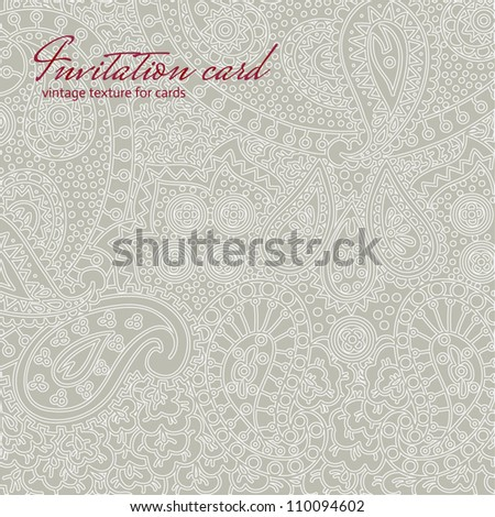 Grey vintage non seamless floral invitation card texture - stock vector