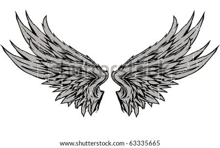 grey wings - stock vector