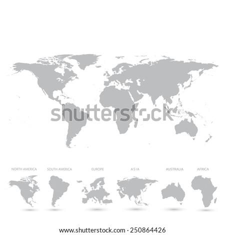 Grey World Map vector Illustration - stock vector