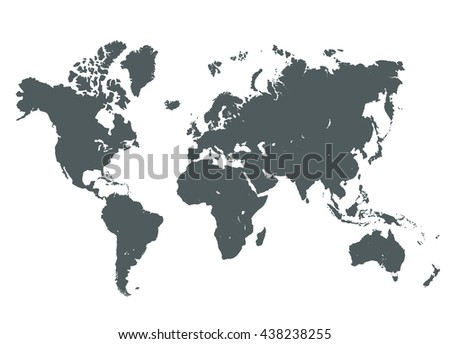 Grey World Map Vector Illustration Empty Stock Vector 438238255