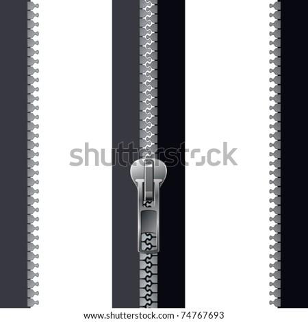 grey zipper - stock vector