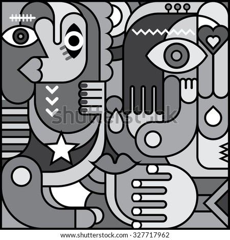 Greyscale abstract art vector graphic design. Decorative collage of various objects and shapes. - stock vector