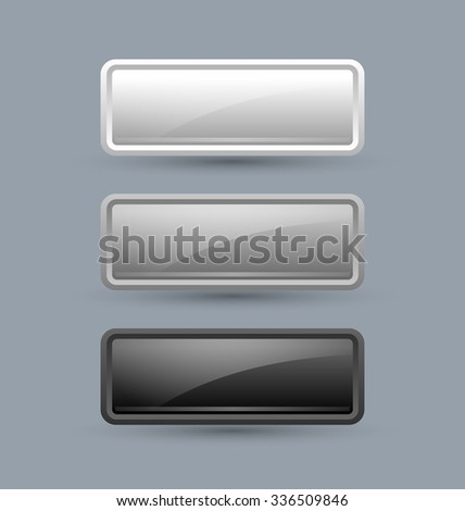 Greyscale glossy buttons isolated on grey background