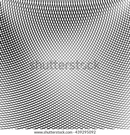 Grid, mesh of lines with dynamic distortion effect. Geometric pattern element. - stock vector