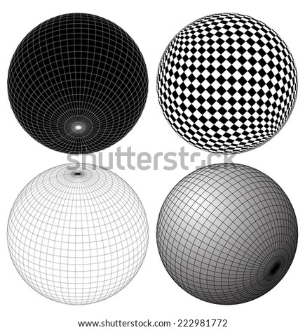 Gridded, wireframe spheres