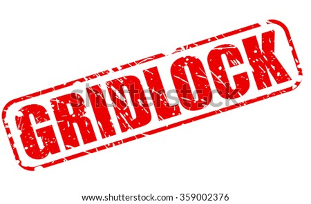 GRIDLOCK red stamp text on white - stock vector