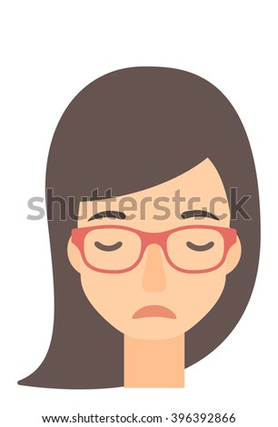 Grieving woman with eyes closed. - stock vector