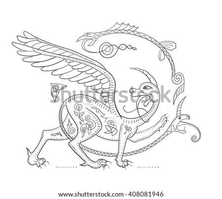 Griffin fantasy monster creature. Medieval style illustration circle decorative composition - stock vector