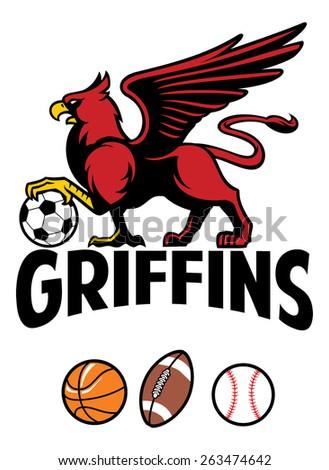 Griffin greek mythology creature sport mascot - stock vector