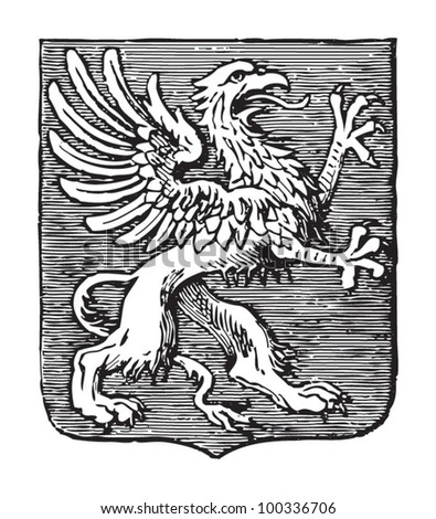 Griffin heraldry coat of arms / vintage illustration from Meyers Konversations-Lexikon 1897 - stock vector