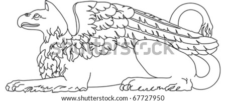 Griffin mythological creature with lion body and bird wings