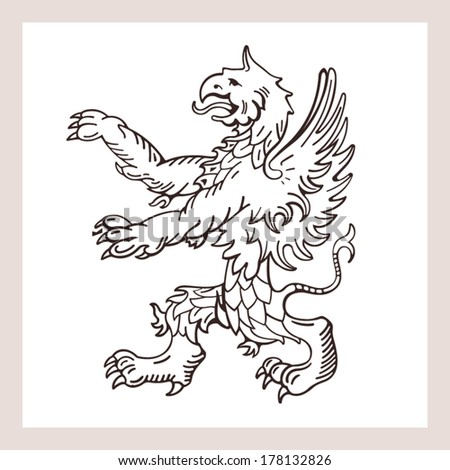 Griffin, silhouette with quality drawing - stock vector