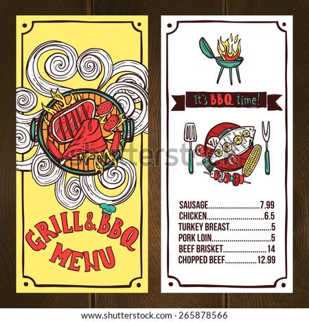 Grill and bbq restaurant menu sketch with barbeque dishes vector illustration - stock vector