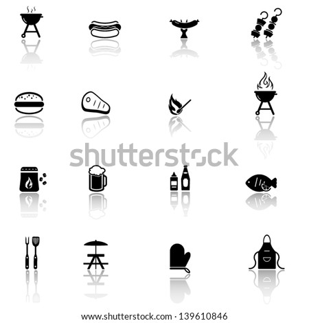 Grill, barbecue, bbq icons set - stock vector