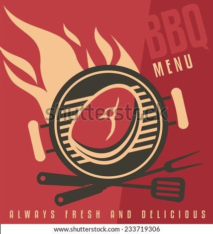 Grill cover menu vector document template. Barbecue ad flat design concept. Creative food banner idea. Promotional printed media. Fast food restaurant sign. - stock vector