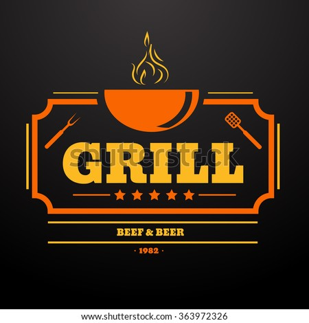 Grill Design Element in Vintage Style  Label, Badge and other design eps10 vector illustration. - stock vector