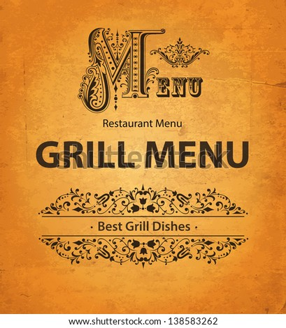 Grill design of menu - stock vector