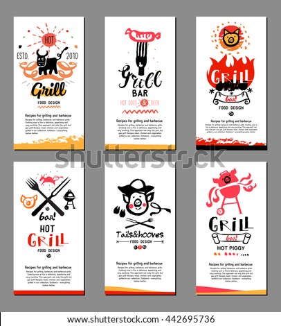 Grill illustrations, cards. Drawings and symbols are handmade on the subject of barbecue and grilling. - stock vector