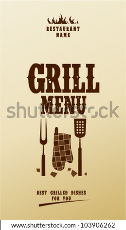 Grill Menu Card Design template. - stock vector
