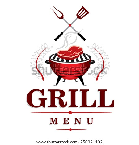 Grill menu design with steak - stock vector