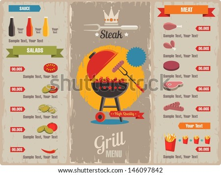 grill menu, vector background - stock vector