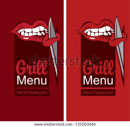 grill menu with a mouth eating meat - stock vector