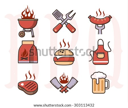 Grill Or Barbecue Icons Set, color - stock vector