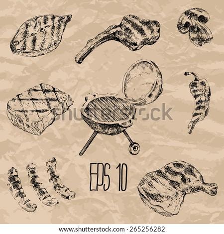 Grill set. Vector hand drawn illustration. - stock vector