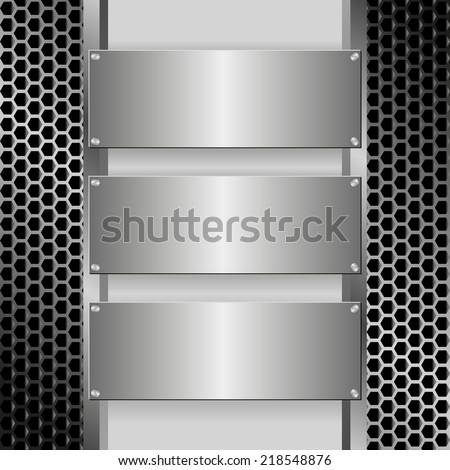 grille texture with three metallic banners - stock vector