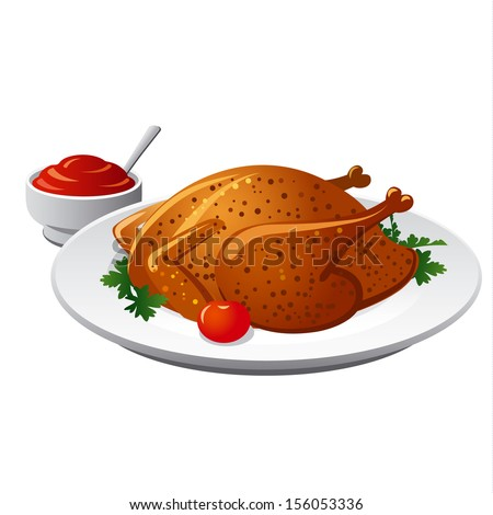 grilled chicken - stock vector