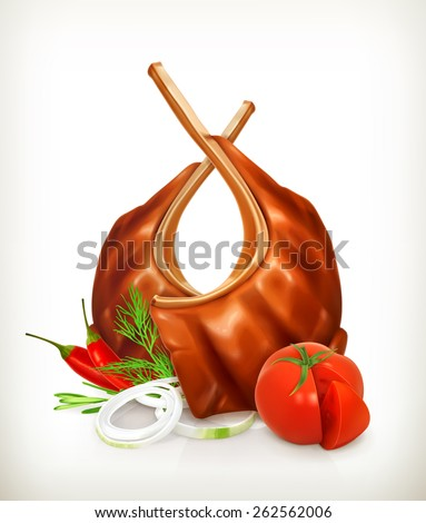 Grilled meat ribs with tomato, onion, dill and chili pepper, vector icon - stock vector