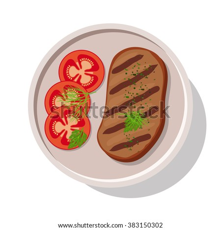 Grilled meat steak with tomatoes. Vector illustration