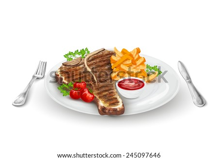 Grilled steak on plate with potato chips vegetables knife and fork vector illustration - stock vector