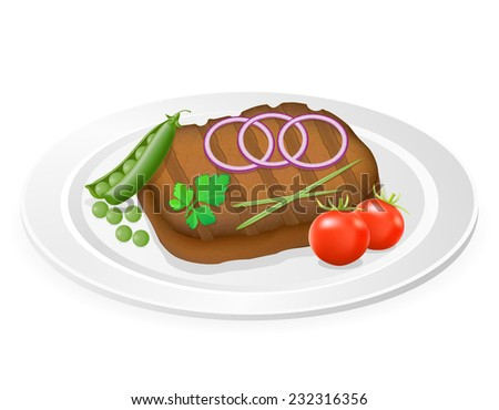 grilled steak with vegetables on a plate vector illustration isolated on white background - stock vector