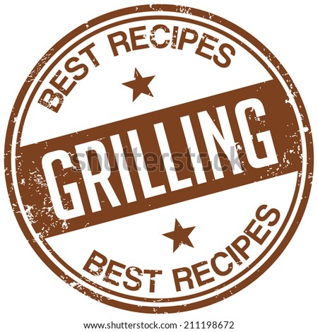 grilling recipes stamp - stock vector