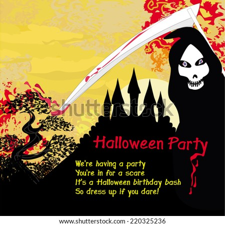 Grim reaper and the haunted castle - stock vector